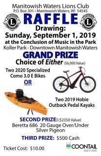 2019 Manitowish Waters Lions Raffle @ Koller Park